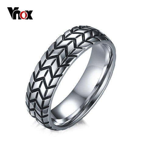 Grooved Ring Jewelry Rock Punk Vintage Stainless Steel