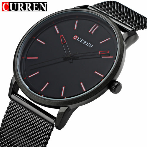 Stainless Steel Mesh strap Quartz-watch Ultra Thin Dial Clock