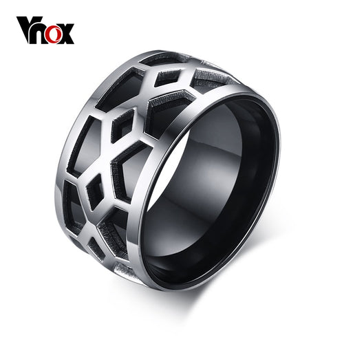 Rings Bands Stainless Steel 12mm Wide Black Silver Grid Design Style Jewelry