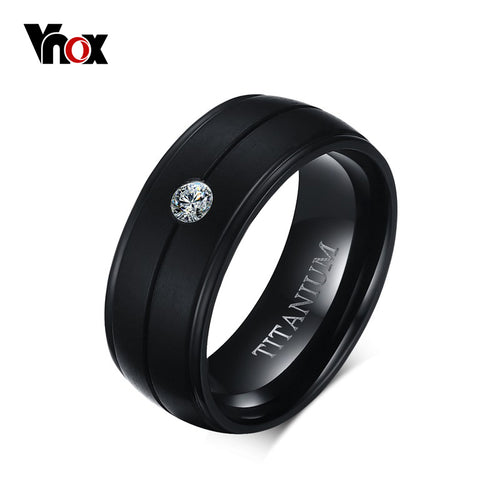 Titanium Black Ring Matte Bands with CZ Stone