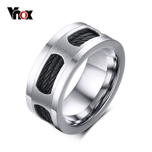 10mm Stainless Steel Men's Cable Wire Inlaid Ring High Quality