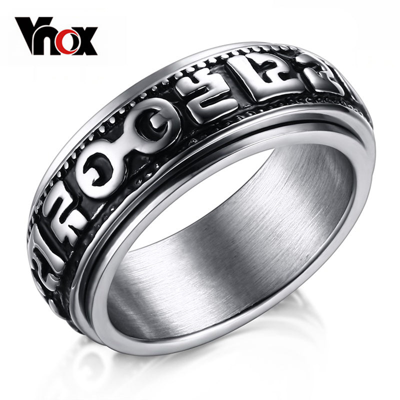 Spinner Rings for Men Stainless Steel Mantra Words Ring Chinese Style Buddhism
