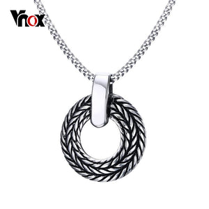"24"" Stainless Steel Wheat Circle Pendants Necklace Chain"
