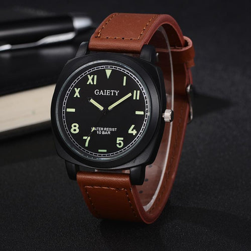 Leather Band Analog Quartz Round Wrist Watch Watches For Men