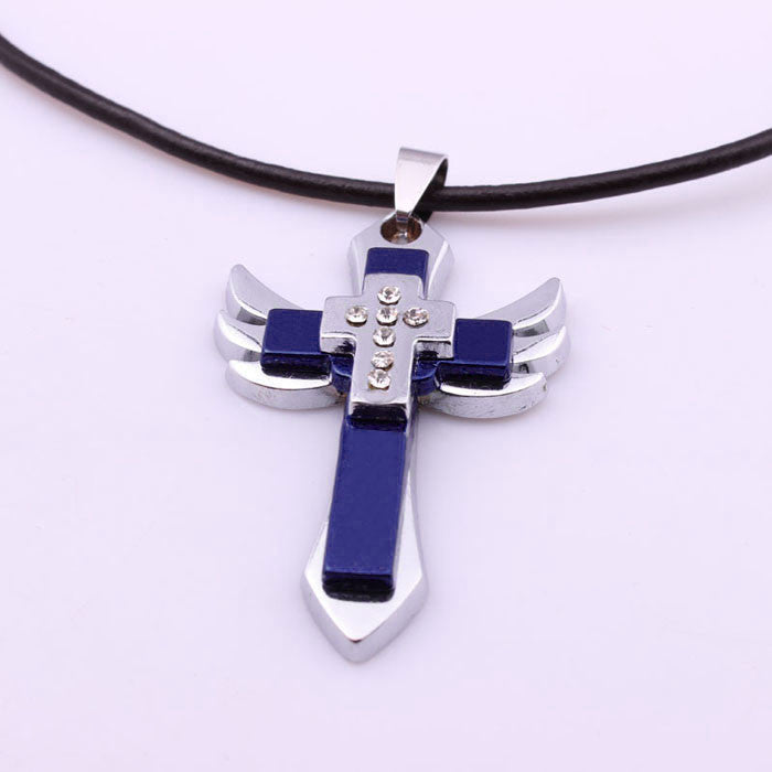 Personality Men Titanium Steel Cross Wing Pendant Necklace Gifts BU