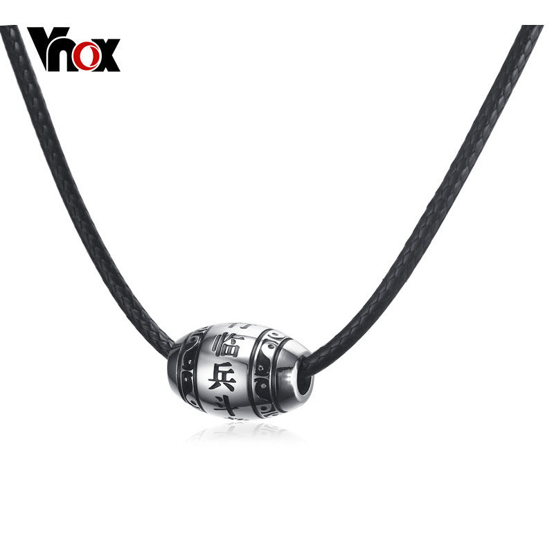 Taoist 9 Character Black Mantra Pendant Necklace Chain