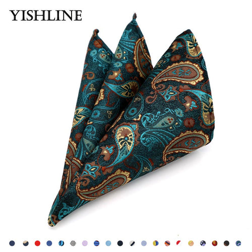 100% Silk Paisley Floral Jacquard Woven Handkerchief Pocket Square