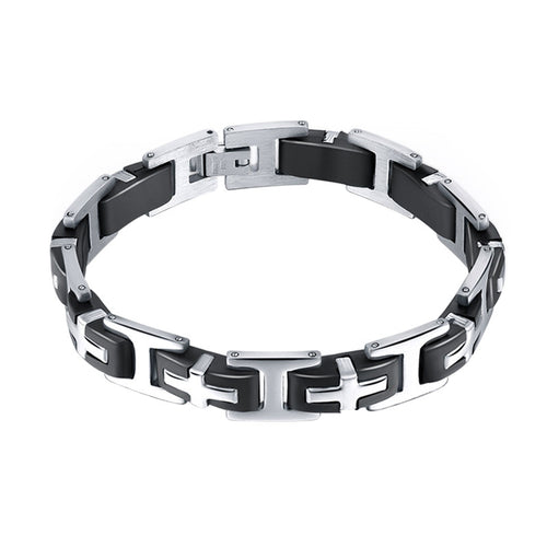 Stainless Steel Bracelet for Men Cross Design Link Chain