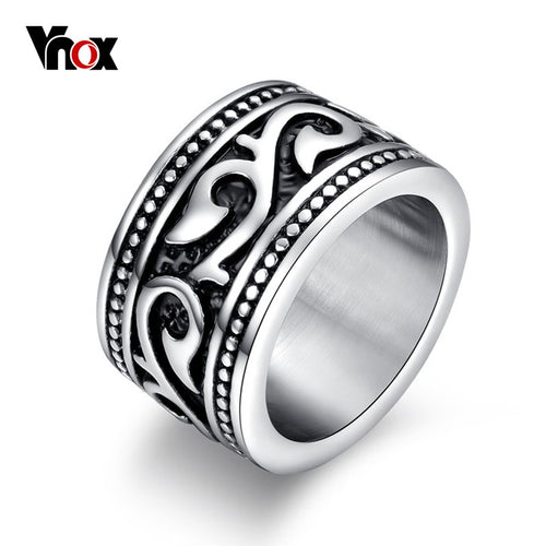 Vintage Mens Rings Engraved Dragon Stainless Steel Male Rock Jewelry