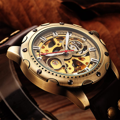 Retro Automatic Mechanical Watches Men Brand Luxury Leather Skeleton self wind Men WristWatch