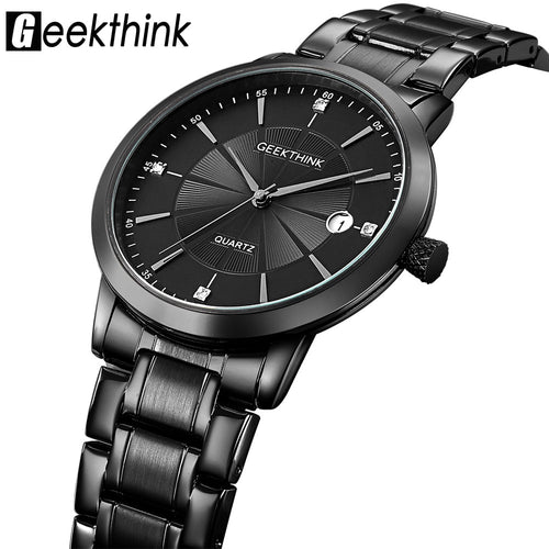 Men's Stainless steel quartz Watches Business Casual ultra Thin Wristwatch waterproof Date