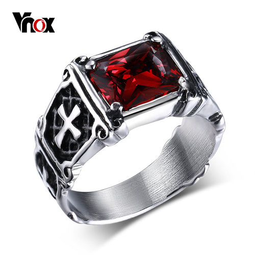 Cross Ring Casting Prong Setting Red CZ Stone Stainless Steel