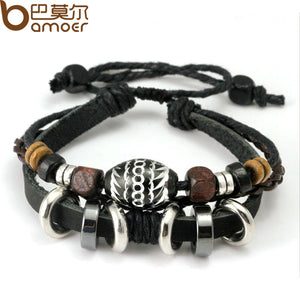 Wrap Black Leather Rope Bracelet for Men Colorful Wooden Beads and Metal Charms