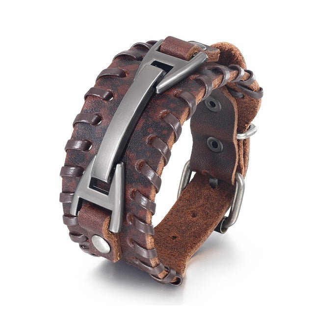 100% Genuine Leather Bracelet Wrap Vintage Brown Cuff Wide Bangles