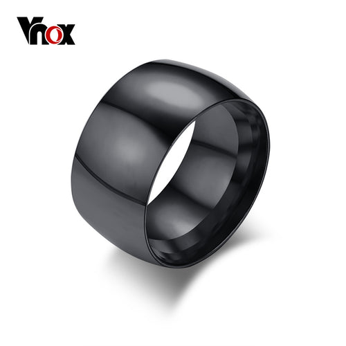 11.5mm Wide Mens Black Ring Stylish Stainless Steel