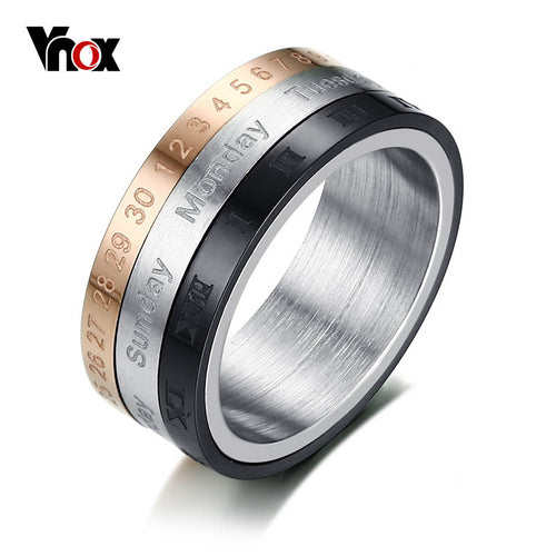 3 Part Roman Numerals Ring Men Jewelry Stainless Steel