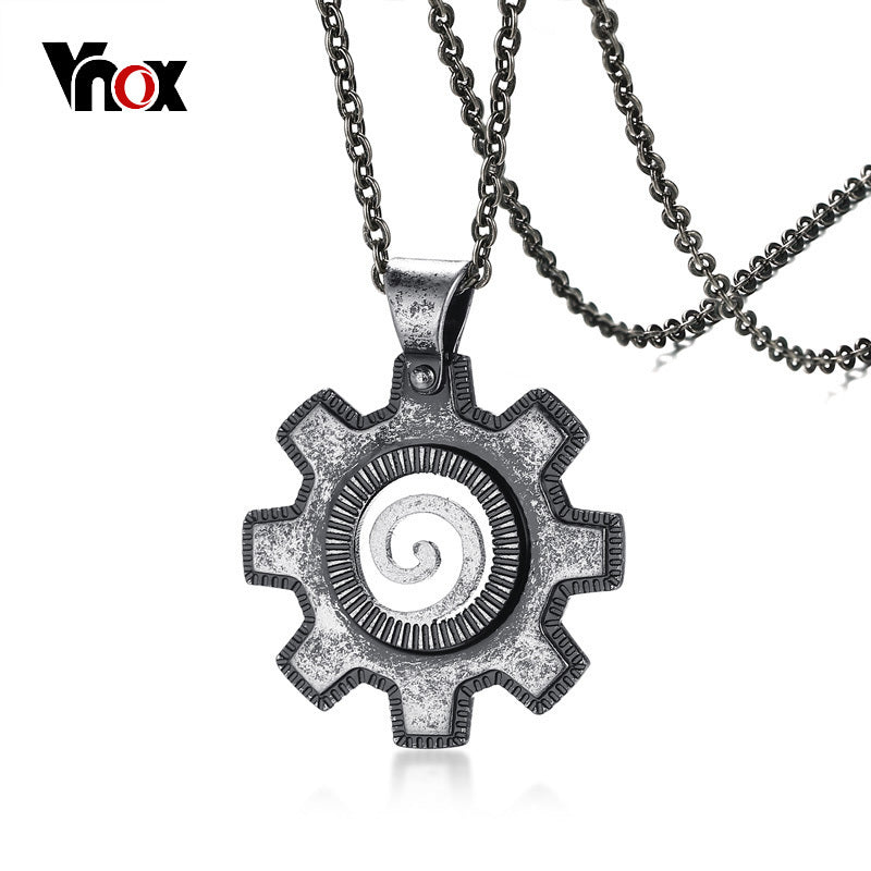 Old Fashion Style Gear Shape Turbine Snail Texture Pendant For Men Necklace Stainless Steel Retro