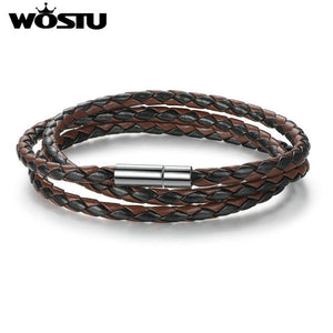 Leather Wrap Bracelet With Magnet Clasp
