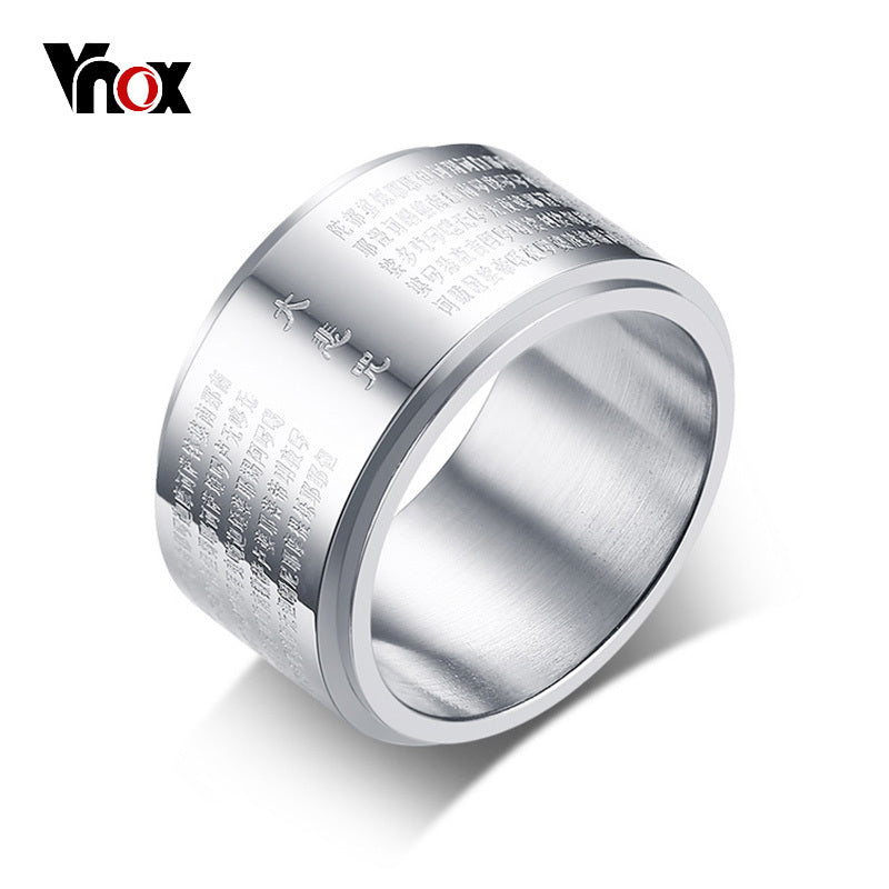Rotatable Double Layer Chunky Mens Rings Band Stainless Steel Chinese Characters Buddhism