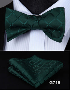Silk Floral Polka Dot Bow Tie & Handkerchief Set