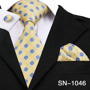 Yellow Floral Silk Tie Handkerchief Cufflinks Set