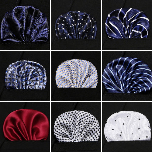 Solid Dots & Stripes Pattern Silk Handkerchief Pocket Square