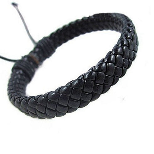 1Pcs Fashion Braided Leather Bracelet Bangle