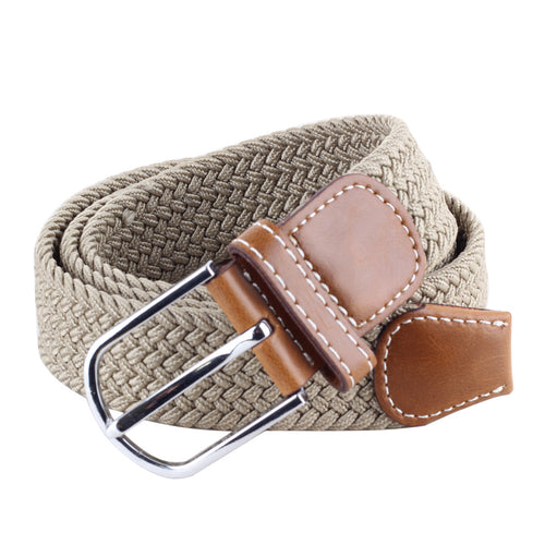 Casual Pant Woven Buckle Elastic Metal Buckle