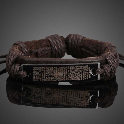 String Band Bangle Retro Scripture Plate Unisex Braid Bracelet