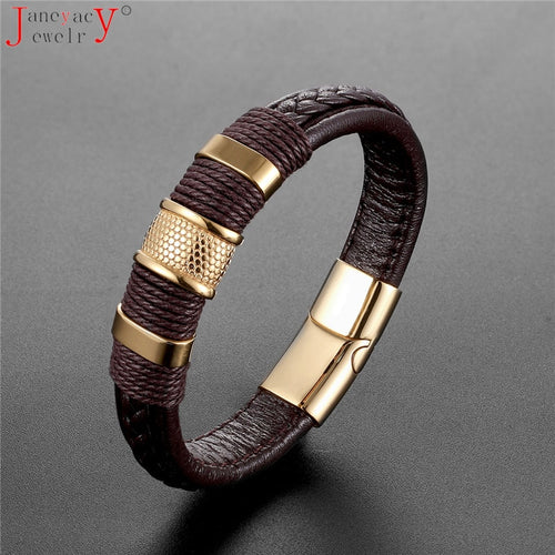 Stainless Steel Accessories Weave Genuine Leather Women Bracelet Men Bangles