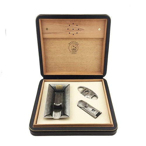 Antique Cigar Accessories kit with Travel Cigar Box Humidifier Humidor