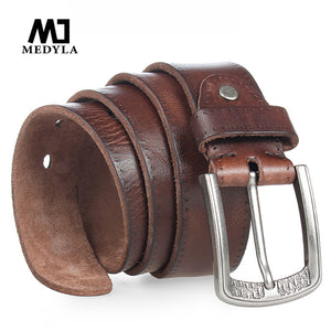 100% Cowhide Alloy Pin Buckle Blue Belt