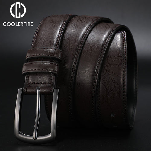Genuine Leather Dress Casual Pin Buckle Business Belt