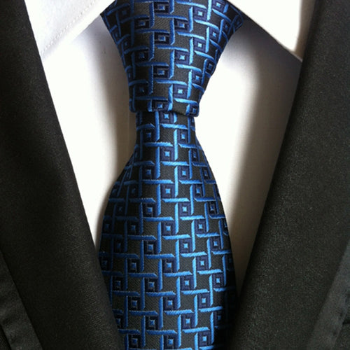 Silk Plaid Black & Blue NecktieTie