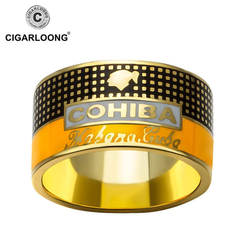COHIBA Cigar Ring gold-plated 925 sterling silver ring creative jewelry