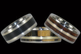Classic Gold & Silver Titanium Wood Rings