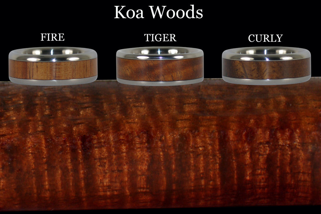 Different grains of Koa Wood - Fire, Tiger, Curly koa wood rings - close up of Koa wood grain