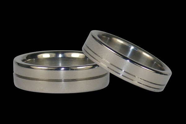 Channeled Titanium Ring Set