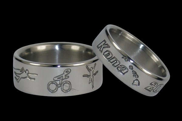 Ironman race titanium ring set | Hawaii Titanium Rings