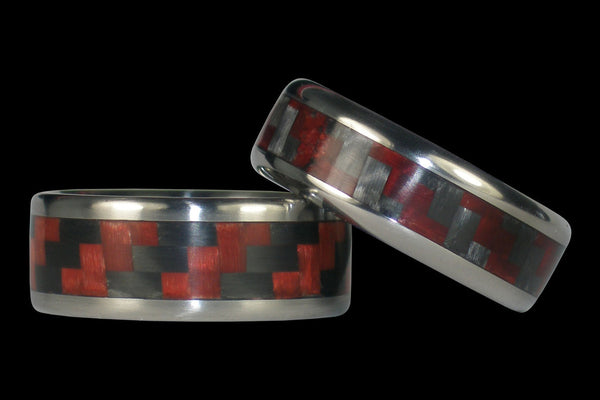 Red Carbon Fiber Titanium Ring Bands