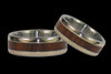 Titanium Ring Set featuring Koa Wood and Gold - Hawaii Titanium Rings  - 3