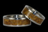 Gold Tigers Eye Titanium Ring Set - Hawaii Titanium Rings  - 5