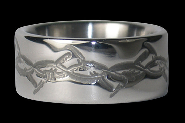Barbed Wire Engraved Titanium Ring Band
