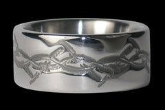 Barbed Wire Engraved Titanium Ring Band - Hawaii Titanium Rings