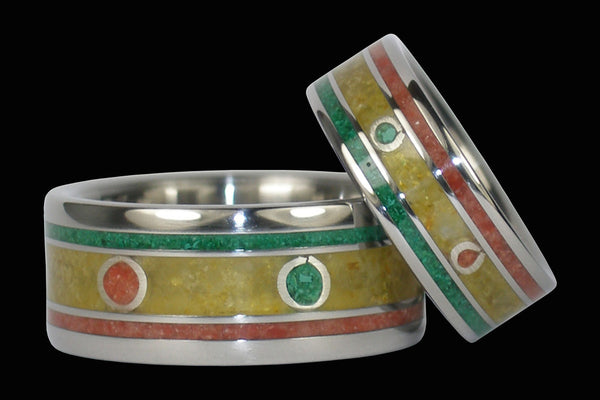 Rasta Titanium Rings One Love