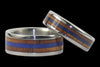 Blue Lapis and Koa Wood Titanium Wedding Rings - Hawaii Titanium Rings  - 2