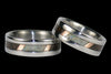 Black Wood and Opal Titanium Ring Set - Hawaii Titanium Rings  - 2