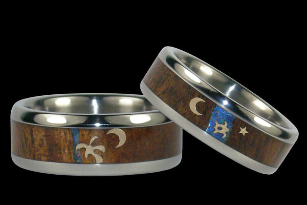 hawaiian koa titanium rings hawaii titanium rings 1 - Hawaiian Wedding Rings