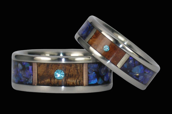 Blue Diamond Titanium Wedding Ring Set from Hawaii Titanium Rings®