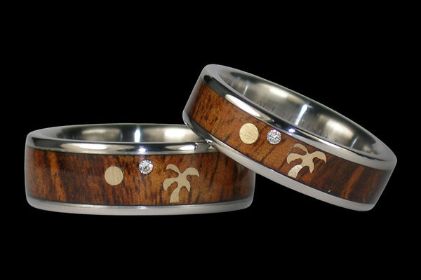 Koa Wood Diamond and Gold Palm Tree Titanium Ring Set